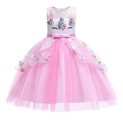Jurebecia Disfraz Princesa Vestido de Unicornio con Tutú Arcoíris para Bebés y Niñas Pequeñas Halloween Fiesta Cosplay Boda Partido Vestido