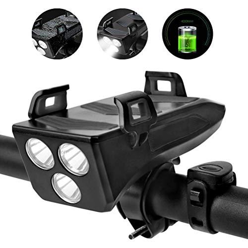 Amiispe 4 in 1 wiederaufladbare Fahrrad-Frontleuchte Set LED Fahrradbeleuchtung 4000mA Power Bank Fahrrad Handyhalter Halterung Fahrrad Handyhalter