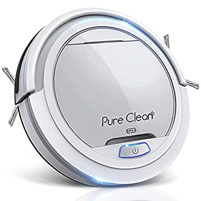 Pure Clean Robot Vacuum Cleaner - Upgraded Lithium Battery 90 Min Run Time - Automatic Bot Self Detects Stairs Pet Hair Allergies Friendly Robotic Home Cleaning for Carpet Hardwood Floor - PUCRC25