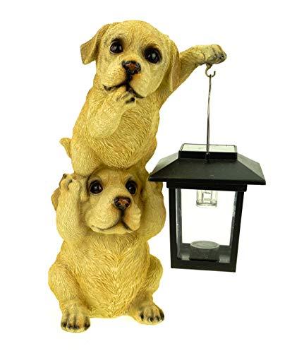 Kremers Schatzkiste Hundepärchen Turm mit Solarlaterne Figur Gartenfigur 24 cm Tierfigur Hund Labrador
