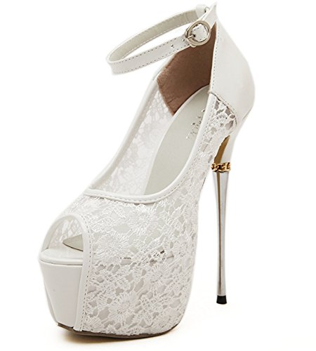 WLITTLE Damen High Heel Pumps Sandalen Peeptoes Extreme High Heels Plateau Pumps mit Stiletto 25cm Absatz Lack Party Schuhe