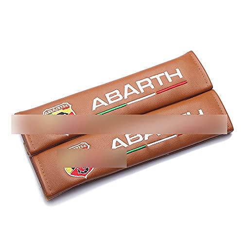 Wlkjhty 2 Piezas Almohadillas para Cinturón de Seguridad Cuero PU para Abarth Punto 500 Stilo Palio Bravo, con Emblema Bordado, Almohadillas Protectores de Coche Hombro, Marrón