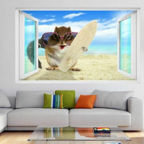 Etiqueta de la Pared 3D,Ardilla con tabla de surf en la playa 3D Wall Art Sticker Mural Decal Poster 50x70cm