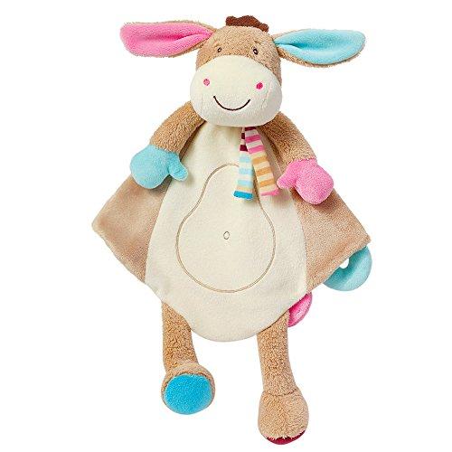 Fehn 081299 Schmusetuch Deluxe Esel – Stofftier-Schnuffeltuch mit Befestigungsring für Schnuller zum Greifen, Fühlen und Liebhaben für Babys und Kleinkinder ab 0+ Monaten