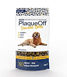 Contains ProDen PlaqueOff Powder To help improve bad breath, plaque & tartar Give between 2-6 bites daily Designed for dogs over 10 kg One bag is approximately 1 month supply (per individual)
