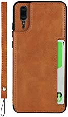 Huawei P20 Case, The Grafu Multifunctions PU Leather Back Cover, Shockproof Case with Card Slot and Wrist Strap for Huawei P20, Brown