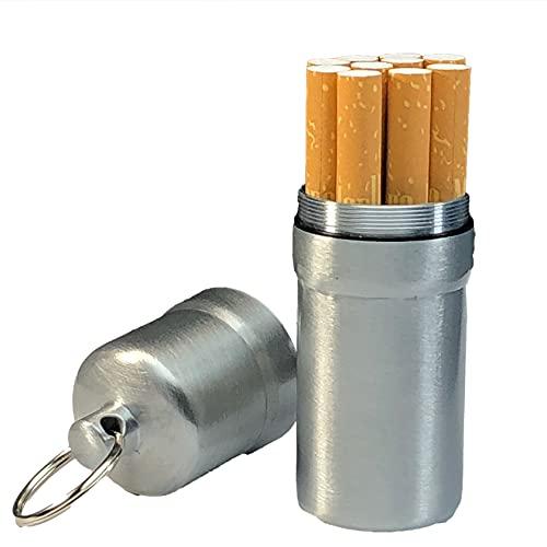 cobalt planet シガレットケース タバコ10本収納 携帯灰皿 防水 キーホルダー 合金 アウトドア 耐湿防圧 (シルバー)