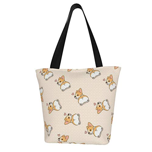 Cartoon Kirky Dog Tail Stylish Canvas Tote Bag Lightweight Shopping Grocery Handbag Purse Shoulder Bag with Inner Pocket for Hiking Travel
