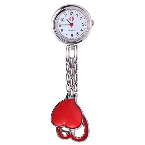 UKCOCO Clip en El Reloj Fob en Forma de Corazón de Acero Inoxidable de Cuarzo Reloj de Enfermera Colgante Reloj de Bolsillo con Reloj de Solapa de Enfermera de Segunda Mano