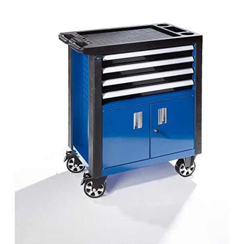 Werkzeugwagen - mit 4 Schubladen und Doppeltür - HxBxT 975 x 765 x 465 mm - Werkzeugwagen und Montagewagen assembly trolleys