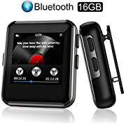 Arbily MP3 Player Bluetooth 16GB, Musik Player mit FM Radio Voice Recorder, MP3 Player Sport mit Clip Kopfhörer