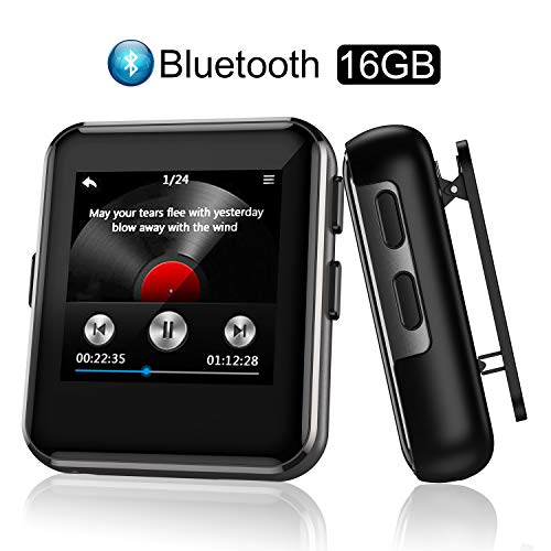 Arbily Lettore MP3 Bluetooth 16GB, MP3 Lettore Musica con Clip per Sport e Corsa, MP3 con Radio FM, Registratore Vocale