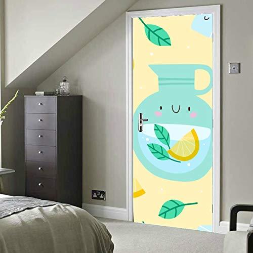 Sweet Sour Cool Beautiful Lemon Juice Vinilo autoadhesivo Papel tapiz extraíble Room Beauty Wallpaper 30x79 Inch (77x200cm) 2 Piezas
