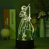 3D Anime Merch Night Light Sword Art Online Lámpara Kirito 3D Japonés Anime Room 3D Óptica Decorativa Luz LED Iluminación para Festival (sin Remoto) - Negro Sin Remoto