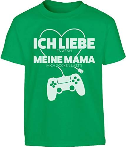Gamer Liebe Es Wenn Meine Mama Mich Zocken Lässt Kinder und Teenager T-Shirt 152 Grün