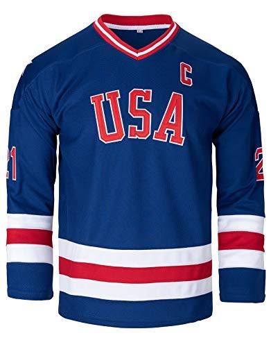 Jim Craig Miracle On Ice USA - Camiseta de hockey, 21 Azul, Large