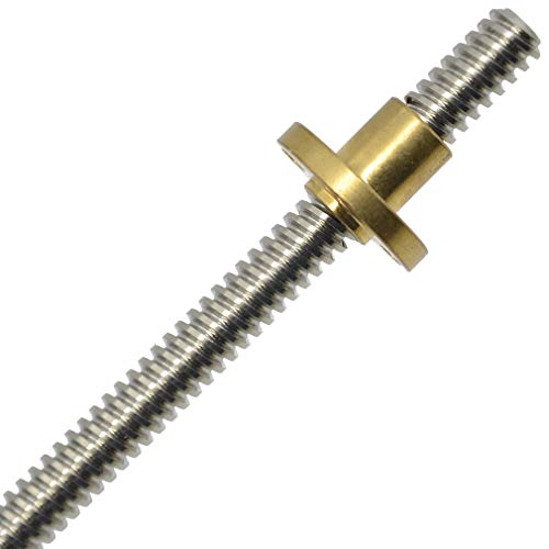 ReliaBot T8 Tr8x2 Tr8x4 Tr8x8 (1 2 4 Start, ACME Thread, 2mm 4mm 8mm lead) Trapezgewindespindel 8mm Gewindespindel und Mutter Kit (500mm+nut, T8x4)