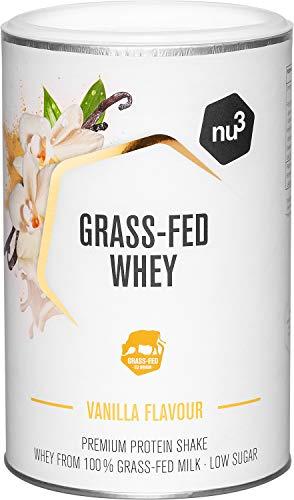nu3 Grass-Fed Whey - Proteine del siero di latte isolate al gusto di vaniglia - 300g - 80% di proteine in polvere - Da mucche nutrite con erba - Certificato da Informed Sport