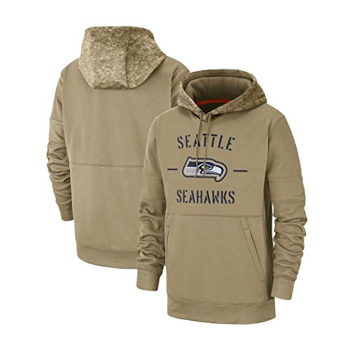 for Seattle Seahawks American Football Männer Casual Sports Sweatshirt Hoodie Fans Trikots Langarm Kapuzenpullover (Color : Brown, Size : XL)