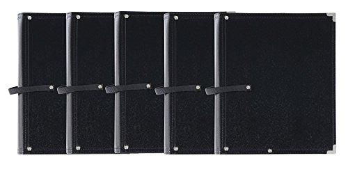 5x Classic Cantabile Notenmappe Standard Schwarz Set (stabiles Kunstleder, Handschlaufe, Noten bis DIN A4, Innentasche, Schutzecken)