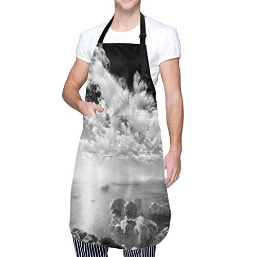 Wasserdicht Chef Kochschürze mit TaschenNew York City Wolkenkratzer Skyline Schwarz-Weiß-Dachansicht Manhattan Midtown Print Küchenschürze zum Kochen,Grillen,Basteln,Restaurant,café-50X70cm