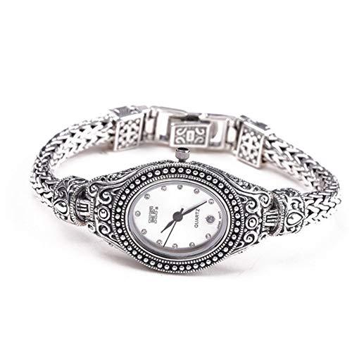 Jade Angel Reloj de pulsera de plata de ley 925 maciza con cadena de trigo de plata de ley 925 Tailandia estilo vintage elipse japonés movimiento cuarzo señoras joyería fina