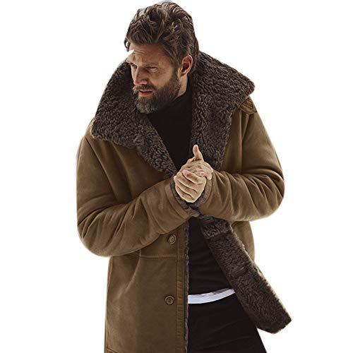 Sijux Herren Kunstpelz Lange Shearling Jacke Mantel Mit Bouton Classic Schaffell Winddicht Motorrad Polo Kragen Winter Outwear,Braun,XXL