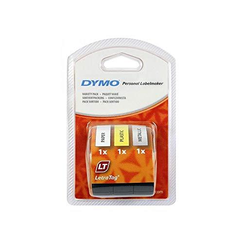 Dymo 12331 Papierband (selbstklebendes, für LetraTag-Etikettiergeräte, 1,27 cm, 4-Meter-Rolle) 3er-Beginnerset verschiedenen Farben