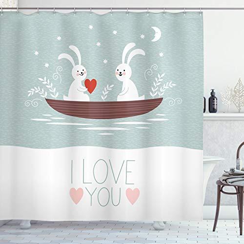 ABAKUHAUS Ich Liebe Dich Duschvorhang, Kaninchen-Paar-Segel, mit 12 Ringe Set Wasserdicht Stielvoll Modern Farbfest & Schimmel Resistent, 175x240 cm, Babyblau Weiß Umbrabraun