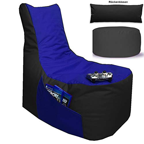 Sitzsack 3er Set Big Gamer Sessel mit EPS Sytropor Füllung - Rückenkissen - Hocker Sitzsäcke Sessel Kissen Sofa Sitzkissen Bodenkissen (Big Gamer Sitzsack 3er Set 2-farbig, Schwarz - Blau)