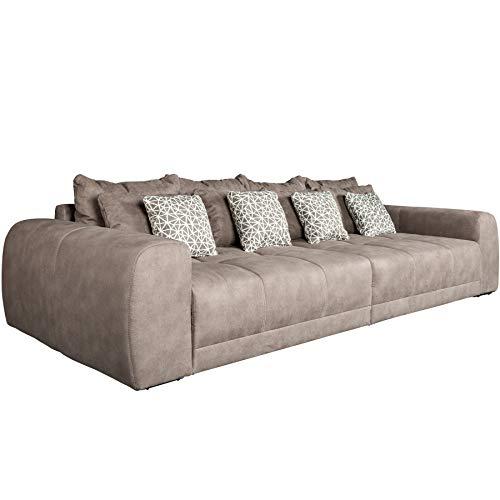 Invicta Interior Modernes XXL Sofa Giant Lounge 300cm Taupe inkl. Kissen Federkern Wohnlandschaft Couch