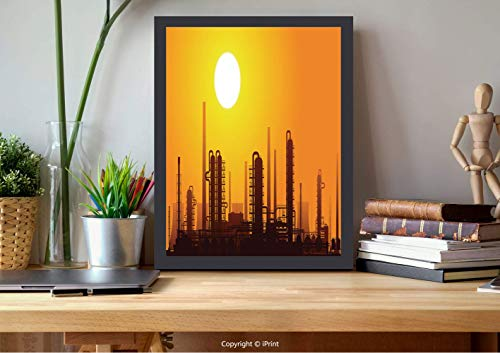 №17791 Modern Wall Decor,Framed Wall Art,Industrial, Chemical Plant Silhouette at Sunset Factory Pipe, Orange Mustard Burnt Orange Chestnut Brown, Best for Gifts