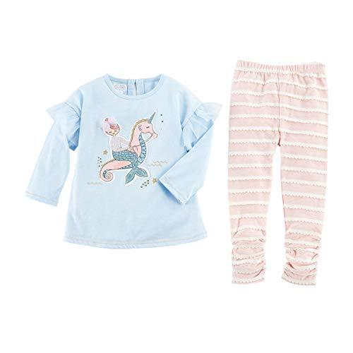 Mud Pie Baby Kids Girls Mermaid Riding Seahorse Winter Tunic Top and Legging Set 5T, Blue/Pink