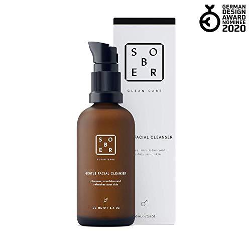 sober® | Gentle Facial Cleanser | Milde Gesichtsreinigung für Männer mit Aktivkohle gegen Mitesser, Pickel und Akne
