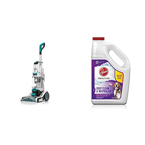 Hoover Smartwash Automatic Carpet Cleaner, FH52000, Turquoise & Paws & Claws Deep Cleaning Carpet Shampoo, Concentrated Machine Cleaner Solution for Pets, 128oz Formula, AH30933, White, 128 oz