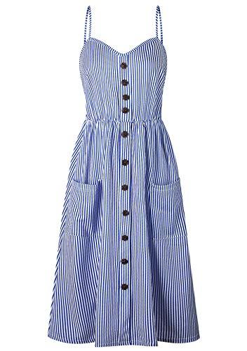YMING Women's Sleeveless Beach Dresses A-line Sexy Dress Off Shoulder Summer Dress Multicoloured Large Size - Blue - L