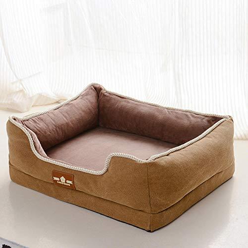 Hundekissen Hundematratze für kleine mittlere große Hunde, orthopädisches Hundebett kuschelig Schlafplatz -Hellbraun_M-70 * 50 * 7