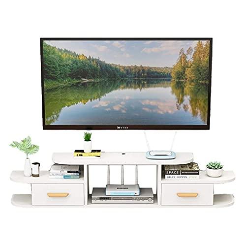 Gabinete de TV, TV Baja, estantes flotantes, Soporte de televisión de Medios flotantes, Consola de televisión montada en la Pared 47.2/55.1/62.9 Pulgadas, para Cajas de Cable Router DVD Player.