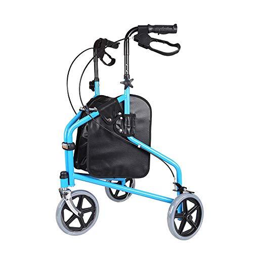 WYFC shopping cart Ultraleichter 3-Rad-Rollator/Tri-Gehwagen, zusammenklappbar mit Bremsen und Einkaufstasche