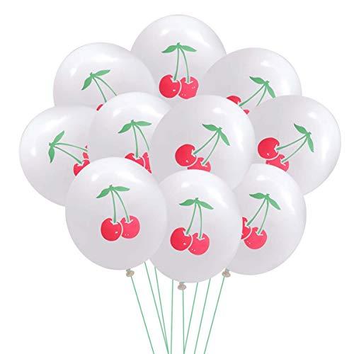 Toyvian Globos de látex de patrón de Cereza de 12 Pulgadas Globos de impresión de Fruta Encantadora para la decoración del hogar de la Fiesta de cumpleaños, 30 Piezas