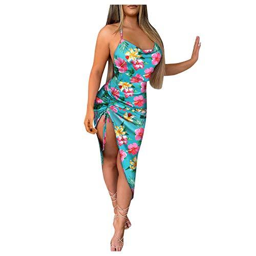 YANFANG Vestido A Media Pierna con Abertura Alta Y Estampado Floral Sexy De Verano para Mujer,Primavera Ropa Fiesta En La Playa,Amarillo,Azul Oscuro,Azul Claro,Verde,S, M, L, XL, XXL