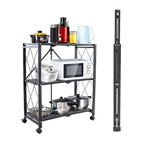 CAISHEND Küchenarbeitsplatte und Schrankregal aus Edelstahl mit Mikrowellenherd, Mehrzweck-Aufbewahrungssystem mit verstellbaren Regalen