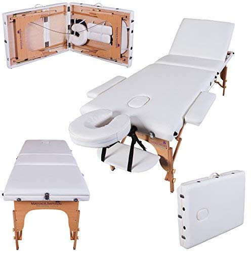 Massage Imperial® Deluxe Lightweight Ivory White 3-Section Portable Massage Table Couch Bed Reiki