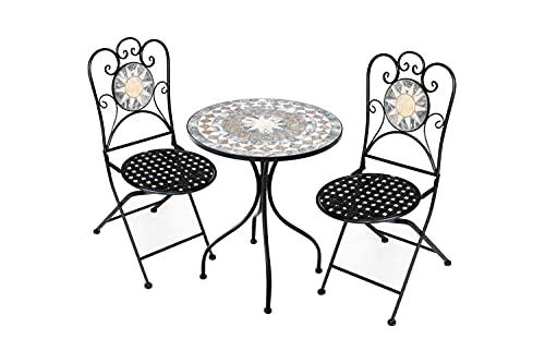 Set Tavolo in Ferro Battuto da Giardino, Tavolo e Sedie da Giardino con Mosaico, Tavolino e Sedie da Esterno in Ferro Battuto