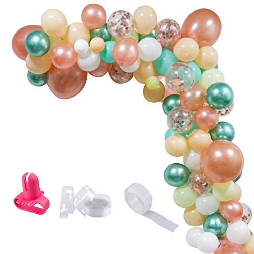 UTOPP Balloon Garland Kit & Balloon Arch, Baby Shower Balloons Decorations Backdrop Arch Garland, Teal and Rose Gold Confetti Latex Balloons Champagne Sea White Balloons Metallic Green Balloons 95Pcs