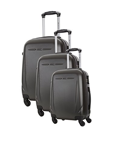 Platinium Bedfort Hard Shell ABS Luggage Suitcase 4 Wheels Travel Trolley Set of 3 (Size S 36x22x55 cm, 39 Liters ; Suitcase M 65x42x25 cm, 62 Liters ; L 75x48x30 cm, 101 Liters.) Number Lock Grey