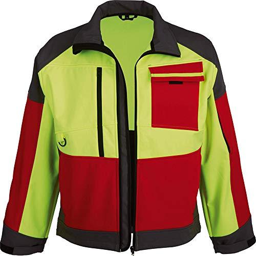 Forstjacke Softshell-Jacke leuchtgelb/rot/grau Größe L