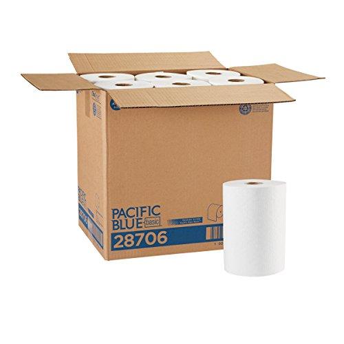 Pacific Blue Basic Paper Towel Rolls by GP PRO (Georgia-Pacific), White, 28706, 350 Feet Per Roll, 12 Rolls Per Case