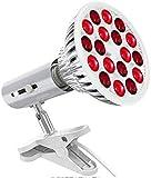 Ckssyao Lámpara de Terapia de luz roja, 660nm y 850nm Cerca de la luz roja infrarroja 18 Bombillas LED para el Alivio del Dolor de la Piel Inflamación de recuperación Muscular