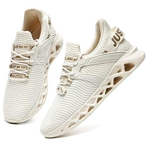 HIIGYL Laufschuhe Herren Schuhe Sneakers Sportschuhe Turnschuhe Outdoor männer Joggingschuhe Leichtgewichts Atmungsaktiv Walking Schuhe Fitness Running Shoes, Beige, 43 EU